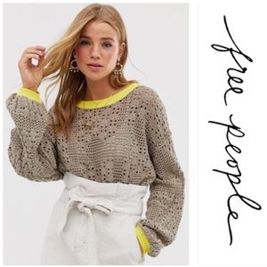FREE PEOPLE Home Run Open Knit Sweater Size S
